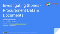 Investigating Stories - Procurement Data and Documents